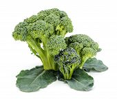 Ripe Broccoli Crops On Leaves