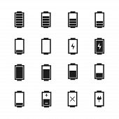 Battery web icons,symbol,sign in flat style. Charge level indicators. Vector illustration.