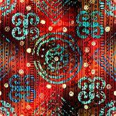 Grunge ethnic pattern on blur background.