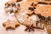 Making Christmas gingerbread cookies.