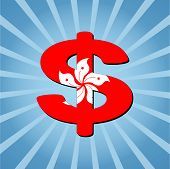 Hong Kong dollar symbol on blue sunburst vector illustration