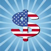 American dollar symbol on blue sunburst vector illustration