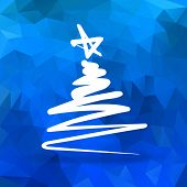 Simple hand drawn Christmas tree with blue polygonal background