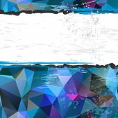 Grunge dirty white frame with blue polygonal background