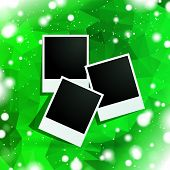 photo frames with green polygonal background