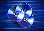 Collection of three cd discs on digital background