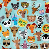Seamless pattern cute face funny animals on blue background. Vector
