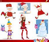 Santa Claus And Christmas Cartoon Set