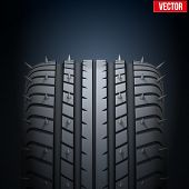 Realistic rubber tires and spikes banner. Vector Illustration