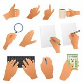 Hands in the office pointing gestures, writing hand, gets text you type, mouse and calculator Hands
