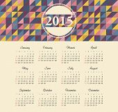 Calendar 2015 year with colored patterns
