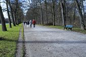 People going out for a stroll in Nymphenburg castle Germany