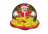 Santa Claus with gifts, money and gold