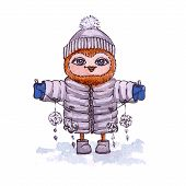 Owl in winter clothes with a garland. Vector watercolor.
