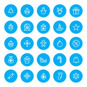 Thin Line Christmas Icons Set For Web And Mobile Apps. White And Blue Colors Flat Design. Christmas