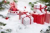 Christmas gift on snow