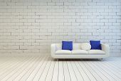 3D Rendering of Elegant White Couch With White and Blue Pillows on an Empty Living Room with an Off White Brick Wall and Wooden Floor Design.