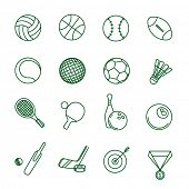 Sport games thin line vector icon set.