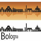Bologna Skyline In Orange Background