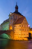 pic of regnitz  - The historical town hall of Bamberg in Bavaria