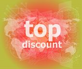 Top Discount Word On Digital Touch Screen