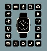 Flat illustration of smart watch and technology functions