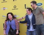 LOS ANGELES - NOV 16:  Melissa McCarthy, Ben Falcone, Joel McHale at the PS Arts Express Yourself Benefit at the Barker Hanger on November 16, 2014 in Santa Monica, CA