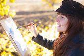 Girl Draws On Nature Autumn