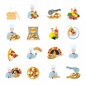 Pizza maker icon set