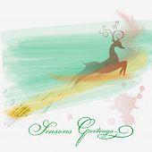 picture of reining  - Season greeting card with rein deer in watercolor style - JPG