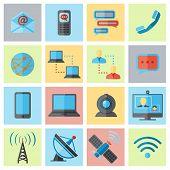 Communication icon flat set