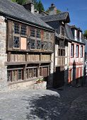 The Medieval Street Of Rue De Jerzual In Dinan, Brittany, France