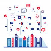 City social network Urban landscape filled with business icons