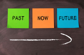 image of past future  - Past now and future notes and a arrow on blackboard - JPG