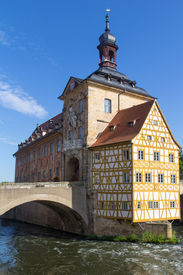 stock photo of regnitz  - The historical town hall of Bamberg in Bavaria  - JPG