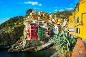 pic of 5s  - Riomaggiore village on cliff rocks and sea at sunset - JPG
