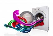 picture of washing machine  - Colored cloth flying from washing machine - JPG