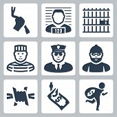 stock photo of prison uniform  - Criminal and prison vector icons set over white - JPG