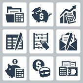 stock photo of budget  - Budget accounting vector icons set over white - JPG