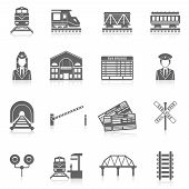 foto of train track  - Railway icon set black with station tunnel track semaphore isolated vector illustration - JPG