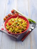 pic of saffron  - pasta with saffron cream sauce and sliced vegetables - JPG