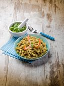stock photo of pesto sauce  - fusilli with shrimp and pesto sauce - JPG