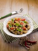 image of aubergines  - cold pasta salad with aubergine chickpeas and fresh tomatoes - JPG