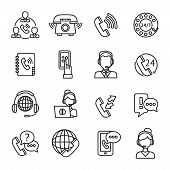 stock photo of outline  - Call center question answer service outline icons set isolated vector illustration - JPG