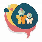 foto of gingerbread man  - Gingerbread Man Flat Icon With Long Shadow - JPG