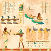 image of hieroglyph  - illustration of Egyptian art of human engraved on vintage wall - JPG