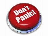 stock photo of panic  - red button with the words  - JPG