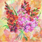 stock photo of gladiolus  - Picture Oil Painting on a Canvas - JPG