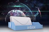 pic of outer  - Blue inbox against outer space in room - JPG