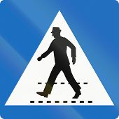image of pedestrian crossing  - Official Austrian traffic sign - JPG